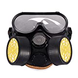 Amazingdeal365 ABB767576 Anti-Dust Spray Paint Industrial Chemical Gas Respirator Mask Glasses Goggles Set, As Shown in The Picture