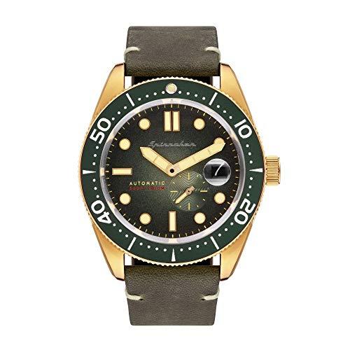 SPINNAKER Croft Herren-Armbanduhr 43mm Armband Leder Grün Automatik SP-5058-04