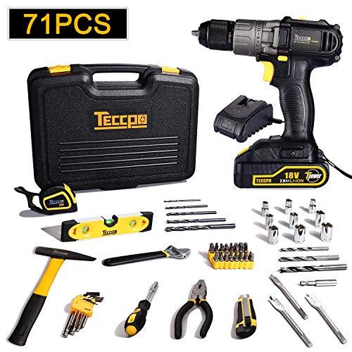 Perceuse Visseuse sans Fils 18V, TECCPO Mallette a outils 71pcs, Coudeau, Marteau, Noix de Cliquet, 10mm Metal Mandrin, 1H Chargeur Rapide- TDDC01P