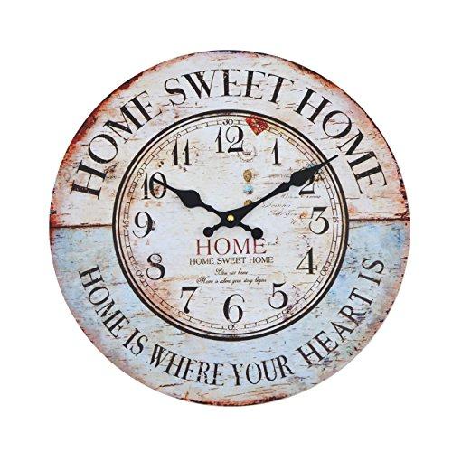 Orologio da muro - Home sweet Home - Silenzioso orologio da cucina in legno con grande quadrante in MDF, Orologio retro con design shabby chic alla moda con meccanismo silenzioso al quarzo, Ø: 32 cm