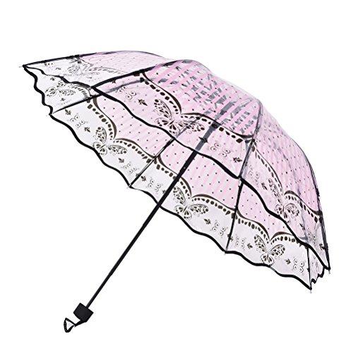 37YIMU® Las mujeres transparente paraguas plegables sombrilla monocromo dama lluvia claro paraguas, encaje mariposas