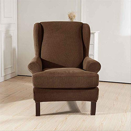 DINDAL Fodera per Sedia Sloping Arm King Back Chair Copertura Elastica Poltrona Wingback Wing Sofa Back Chair Copertura Stretch Altro caffè