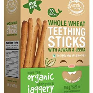 Early Foods Organic Whole Wheat Ajwain Jaggery Teething Sticks - Kids Snack 150gms 10  Early Foods Organic Whole Wheat Ajwain Jaggery Teething Sticks – Kids Snack 150gms 514ji1olQML