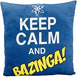 "'The Big Bang Theory 0122078 Cojín ""Keep Calm and Bazinga, poliéster, negro, 40 x 40 x 3 cm"