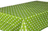 Wachstuch Tischdecke Abwaschbar Eckig 140 x 200 cm Punkte Grün