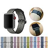 BlingBox   Fascia sportiva da polso in nylon, cinturino a bracciale per iWatch 3/2/1, colorenero, adatto per Apple Watch, dimensioni 38mm–stile 1, Nylon, Style 1, Apple Watch 42mm