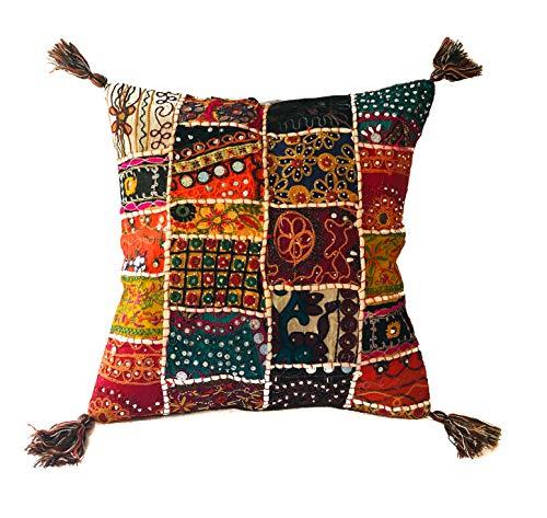 Kalakriti - Federa per Cuscino o Cuscino in Cotone Patchwork Etnico con Pompon, 45 x 45 cm