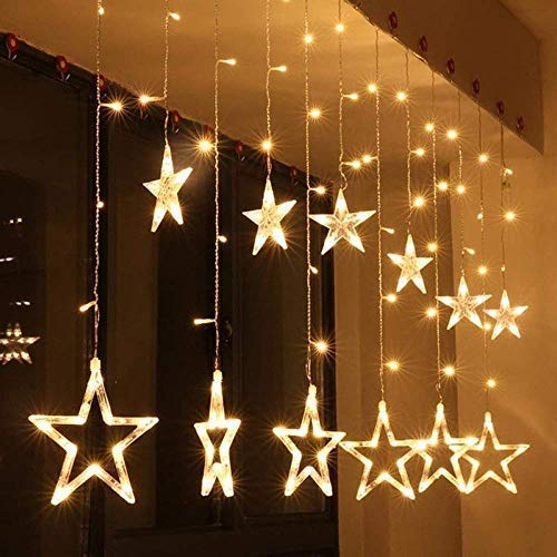 SAVID LIGHTS Star Light Curtain, String Lights with 12 Hanging Golden Stars, 8 Flashing Modes, Decoration for Birthday, Festival, Festive Occasion, Wedding, Party - for Home, Patio, Lawn, Restaurants