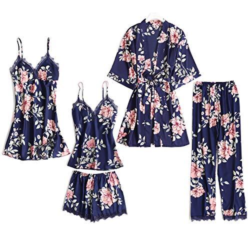 Lachi 2/5PCS Kimono Mujer Pijama Saten Conjunto de Bata Camisón Floral para Dormir Casa Ducha Noche Albornoces + Camisón+ Chaleco + Pantalones Cortos y Largo Satén Encaje Floral
