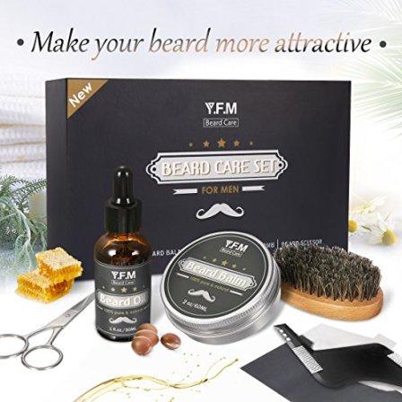 Cuidado-de-Barba-Kit-YFM-Aceite-Blsamo-Cepillo-Peine-Tijera-Juego-de-regalo-perfecto-para-hombres