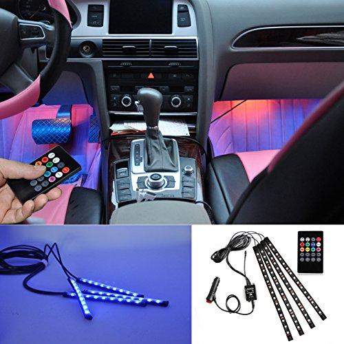 BRTLX LED Car Interior Lighting Atmosphere Kit decorativo RGB Strip Light 12V 4 x 15 LEDs con Sound...