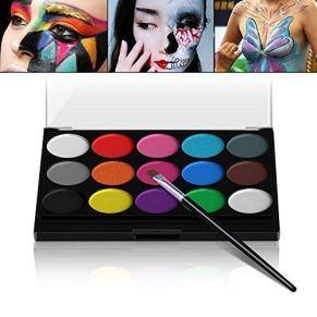 XPASSION Kit de Pintura Facial. Set de Maquillaje, Pinturas Corporales, Pintura Cara Professional Juego con 1 brocha 15…