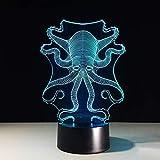 Lampada a 7 colori creativa 3D Visual Led Camera da letto per bambini USB a forma di polpo Lampada da notte a forma di regalo di Natale per decorazioni Lampada da scrivania con comodino sul comod