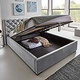 Designer Bett mit Bettkasten ELSA Samt-Stoff Polsterbett Lattenrost Doppelbett Stauraum Holzfuß schwarz (Grau, 180 x 200 cm)
