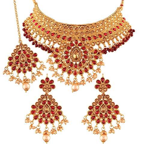 1db307604e I Jewels Gold Plated Traditional Kundan Choker Necklace Set with Earrings &  Maang Tikka ...