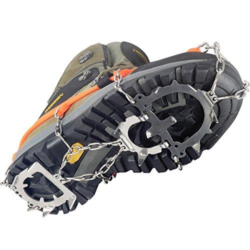 YUEDGE Crampones 12 Dientes Garras Acero Inoxidable Cadena Crampones Antideslizante Zapatos Cover para Camping y Alpinismo en Esquí Hielo Nieve Senderismo al Aire Libre (L)