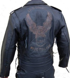Lederjacke Leder Jacke für Biker Chopper Mottoradjacke Motorrad Rocker Punk 6