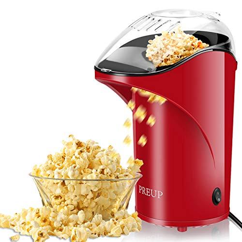 PREUP Popcornmaschine  Heißluft Popcorn Maker Ohne Öl   1,76L Kapazität BPA-freie Popcorn Maschine mit abnehmbarem Deckel für Heimkino
