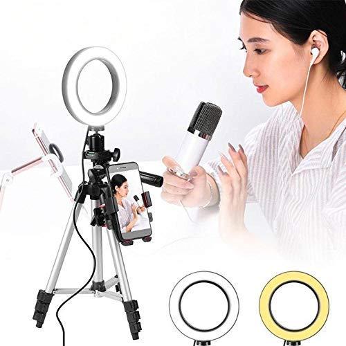 LayOPO Anello Luminoso per Selfie,Luce Anulare A LED Dimmerabile con Supporto per Treppiede E...