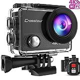 Crosstour Caméra Sport 4K Ultra HD Wi-FI 16 MP avec Télécommande Appareil Photo Caméscope Étanche 30M 170 °Grand-Angle avec 2 Pouces LCD 2 Batteries Rechargeables 1050mAh et 18 Accessoires...