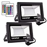 Ustellar 2er RGB 60W LED Strahler mit Fernbedienung, IP66 Wasserdicht 16 Farben 4 Modi LED Fluter...