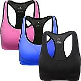 ANGOOL Damen Komfort Klassische Racerback Sport BH Top Fuer Yoga Fitness-Training, Schwarz blau rosa, L Fit 80D 80DD 80E 85D 90BC 90D
