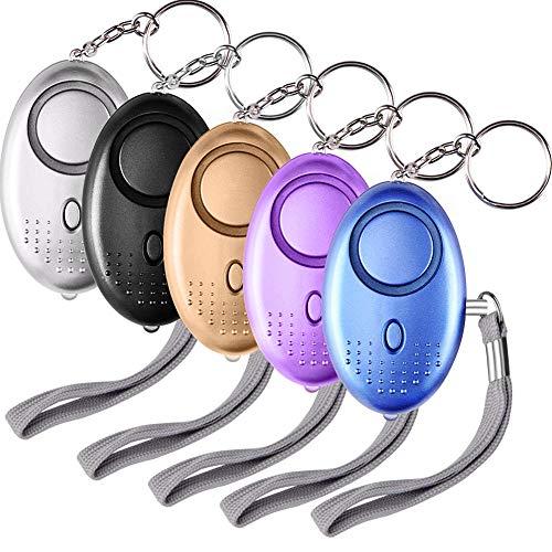 SUNMAY Taschenalarm, 5 Stücke 140db Personal Alarm Schlüsselanhänger mit Taschenlampe, Panikalarm Persönliche Sicherheit Frauen, Kinder, Senioren