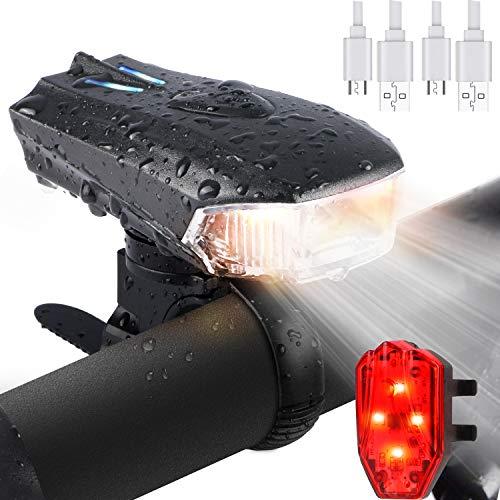 KAROLA Luci per Bicicletta, Luce della Bici del LED, Set di luci per la Bicicletta USB con 5...