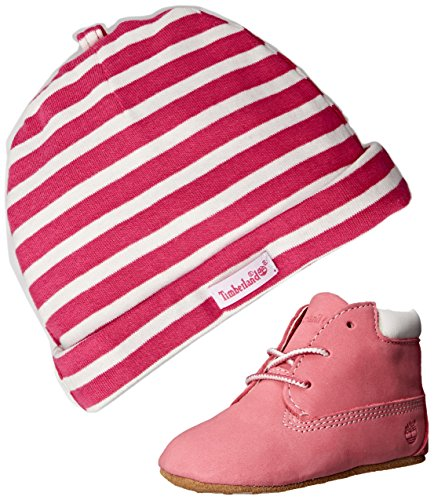 Timberland Crib Bootie with hat, Scarpe prima infanzia e cappello , Rosa (Fushsia), 16 EU