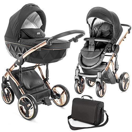 Junama Diamond Individual - Passeggino combinato con navicella, seggiolino sportivo, borsa fasciatoio e parapioggia, colore: Nero/Oro rosa