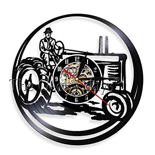 GVC 1 Pezzo Agricoltore su Trattore luci a LED Trattore agricolo Orologio da Parete Personalizzato Orologio da Parete in Vinile Vintage Orologio Decorativo Orologio Cropper Gif