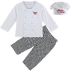 Mombebe Disfraz Bebé Niños Cocinero Ropa Set con Sombrero (Cocinero, 2 Años)
