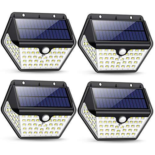 Solarlampen für Außen mit Bewegungsmelder,【2019 Neuestes Modell 60 LED-800 Lumen】iPosible Solarleuchte Aussen 2000mAh Solar Wasserdichte Wandleuchte Solar Aussenleuchte Solarlicht für Garten- 4 Stück