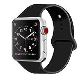 ZRO Cinturino for Apple Watch, Morbido Silicone Braccialetto Sportiva di Ricambio per 38mm iWatch Serie 3/ Serie 2/ Serie 1, Taglia S/M, Nero