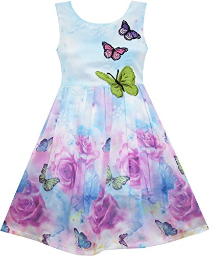 Sunny Fashion Girls Dress Rose Flower Print Butterfly Embroidery Green Vestido para Niños