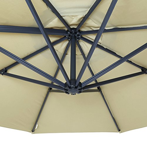 The frame of the parasol is designed to be light just to effect easy manoeuvrability. It is made from aluminium which is light but still strong enough to support the weight of the canopy. Aluminium will not rust and neither concede to corrosion. The canopy itself is created of polyester which is easy to clean and has been treated to withstand UV rays. The material is also waterproof and therefore will offer protection from the rain.