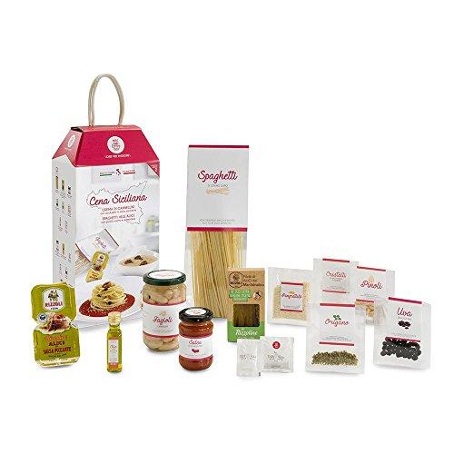 CENA SICILIANA con Crema di Cannellini e Spaghetti alle Alici My Cooking Box x2 Porzioni -  Idea Regalo Natale 2019