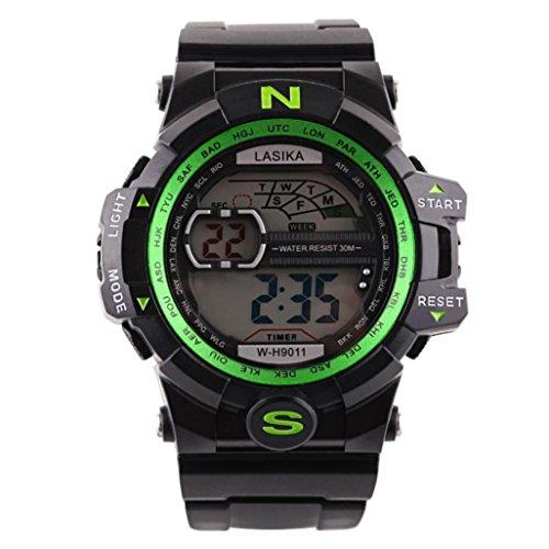 Hombre al aire libre impermeable de los deportes relojes militares Digital  Display con brújula alarma dd2ef2b998f3
