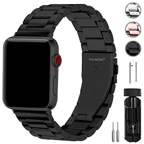 Fullmosa Compatibile Cinturino per Apple Watch 42mm e 38mm,3 Colori Cinturino per iWatch in Acciaio Inossidabile,Cinturino per Apple Watch Series1,2,3,4,5, 42mm Nero