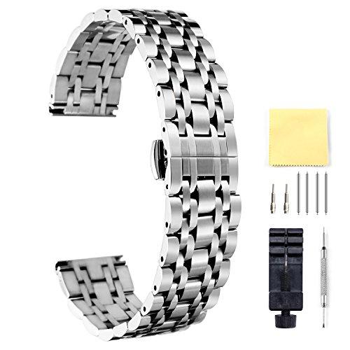 BINLUN Cinturino per Orologio in Acciaio Inossidabile - Argento 20mm