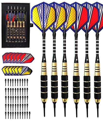 heinsa Premium Dartpfeile, Dartpfeile mit Metallspitze (20g) Steeldarts ODER Dartpfeile mit Kunstoffspitze Softdarts (18g) Profi Soft Darts Steel Darts Set