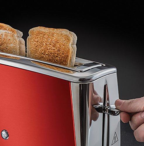 Russell Hobbs Grille-Pain, Toaster Spécial Baguette Luna, Technologie Cuisson Rapide, Chauffe Viennoiserie Inclus - Rouge 23250-56