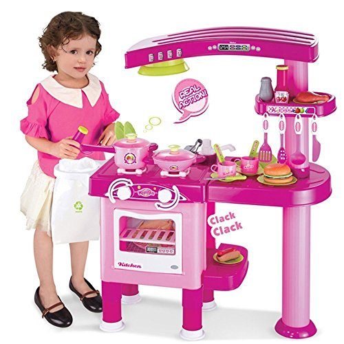 Childrens, Kids Large Toy Kitchen, Pretend Play with 30 accessories (Pink..) by Inside Out Toys