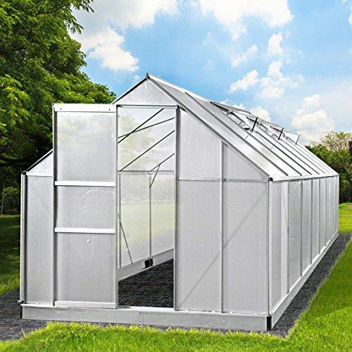 BRAST Gewächshaus Aluminium mit rostfreiem Stahlfundament 19,6 m³ Alu Gartenhaus 490x250x205cm...
