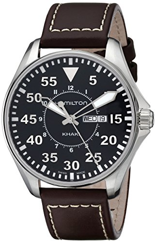 Hamilton Herren Analog Quartz Uhr mit Leder Armband H64611535