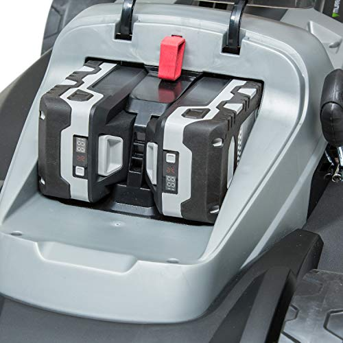 Supplied with two Briggs & Stratton 18V 5.0Ah Lithium-Ion Batteries and dual charger which give around 36 minutes of running time.