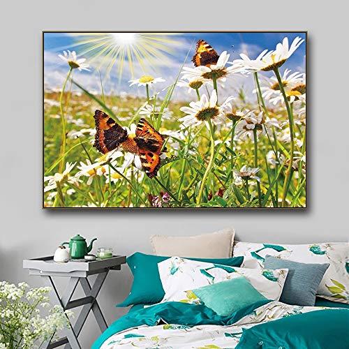 RTCKF Wild Daisy Flower Butterfly Stampa su Tela Poster Nordic Wall Art Immagine Soggiorno...