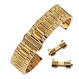 20mm solidi bande durevoli in acciaio inox braccialetti per orologi, con facile fibbia di distribuzione di rilascio in oro