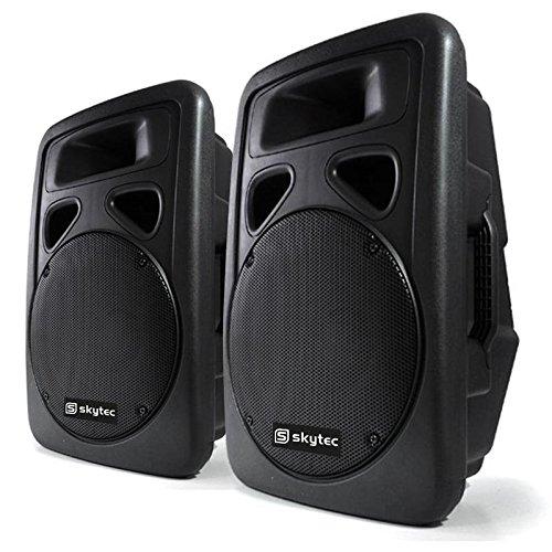 Skytec Coppia casse acustiche attive altoparlanti DJ PA (2x 400 Watt RMS, struttura in ABS, ingresso...