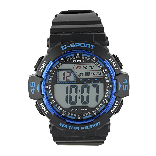 Dio Moda Water Resistant with Date Time Day Display Alarm Stopwatch Function Digital Black Dial Unisex Sports Watch